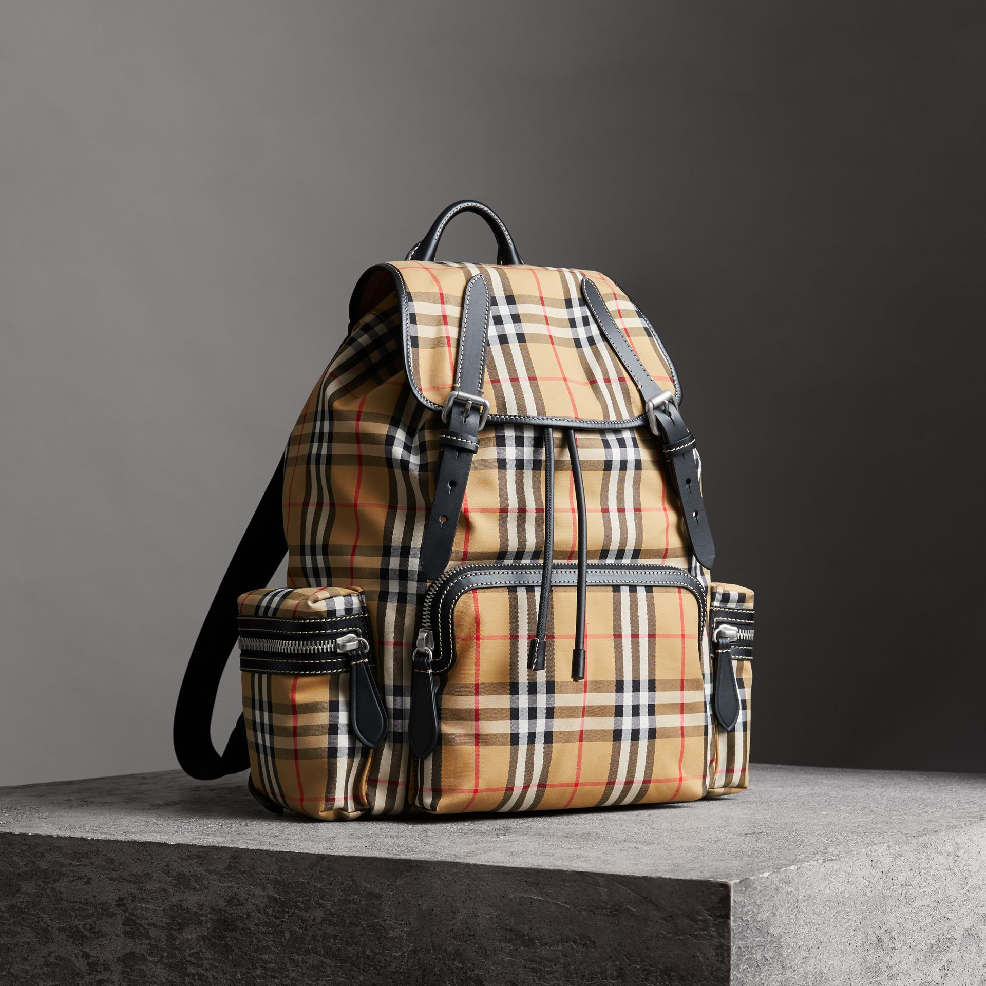 The Large Rucksack in Vintage Check and Leather in Antique Yellow - Men | Burberry United States - gallery image 0