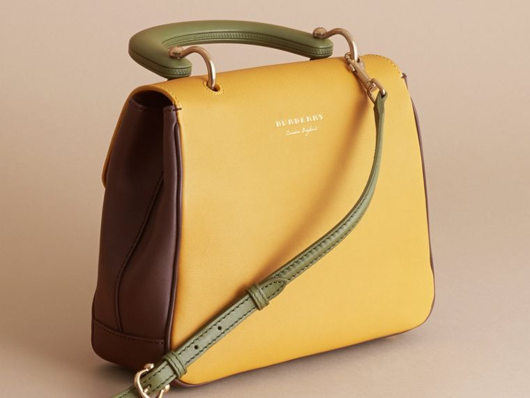 The Medium DK88 Top Handle Bag Dark Chocolate/ochre Yellow - cell image 4