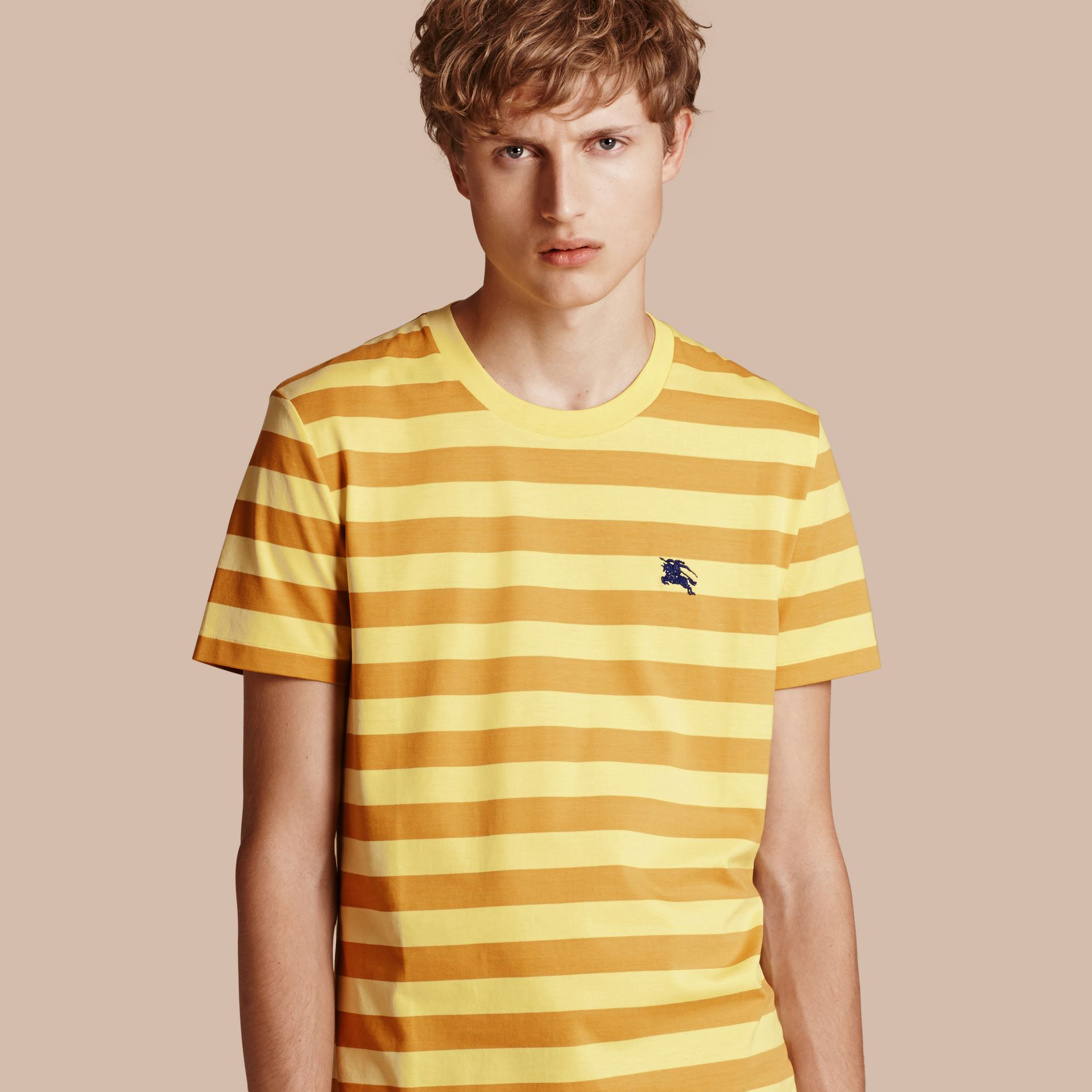 Striped Cotton T-Shirt in Pale Yellow/ochre Yellow - gallery image 1