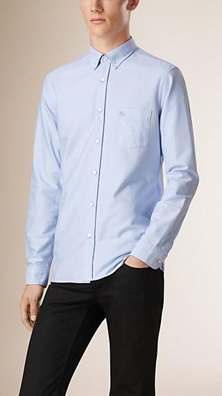 Camisa Oxford de algodão com detalhe xadrez