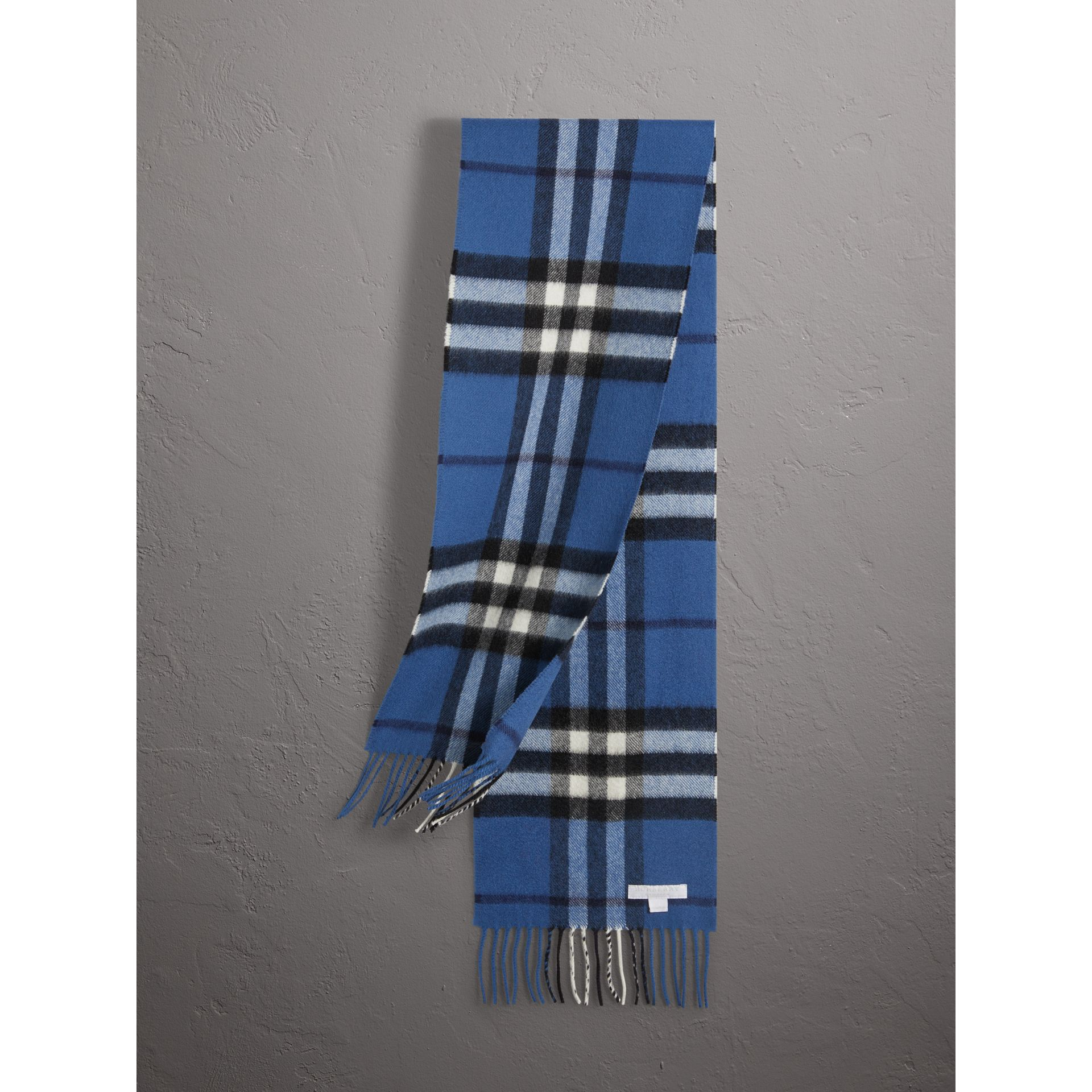 The Mini Classic Check Cashmere Scarf in Cadet Blue | Burberry - gallery image 0