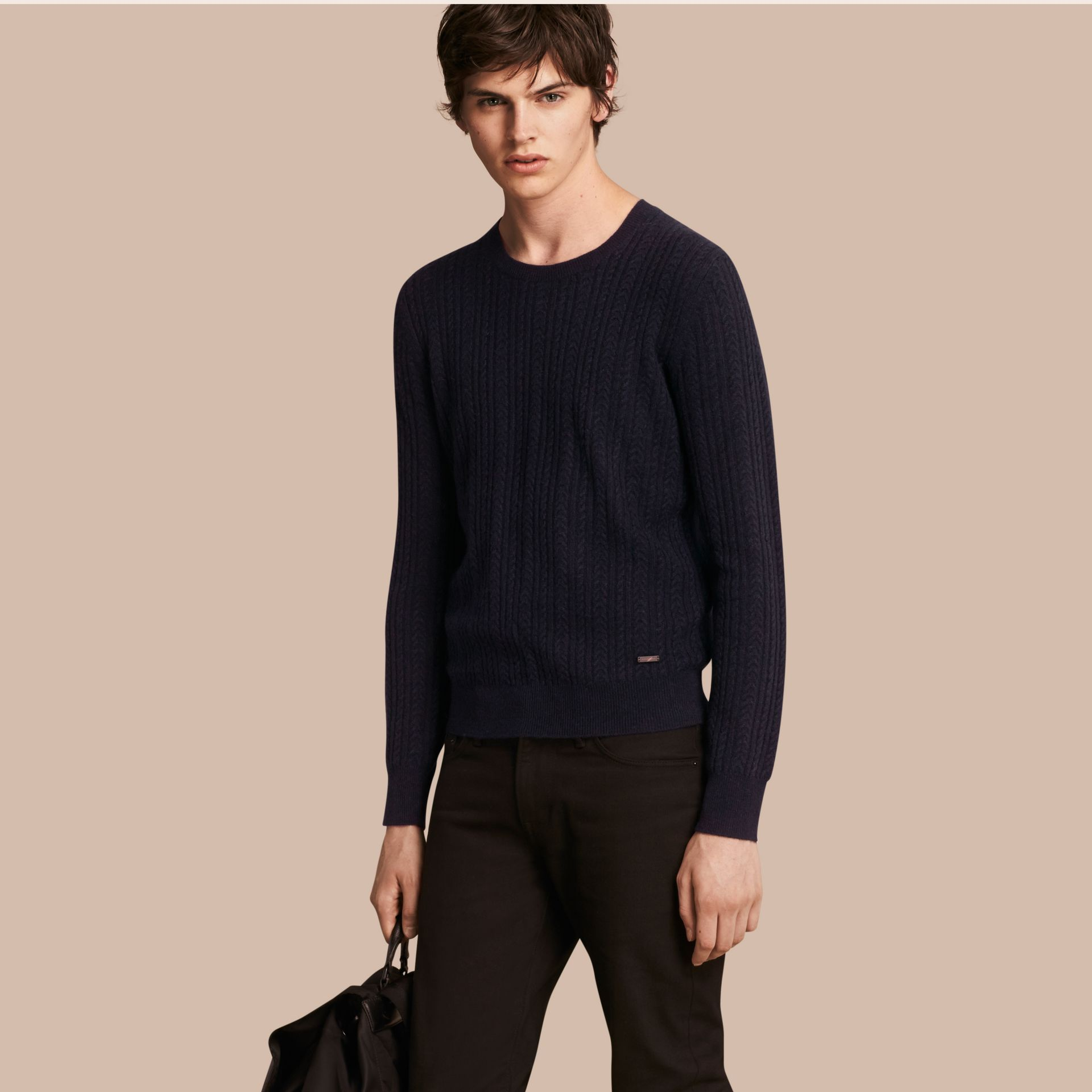Navy Aran Knit Cashmere Sweater Navy - gallery image 1