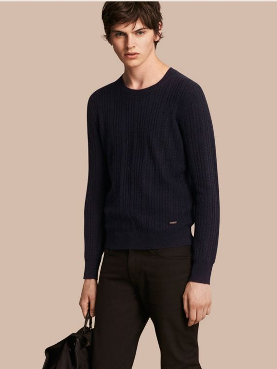 Aran Knit Cashmere Sweater in Navy