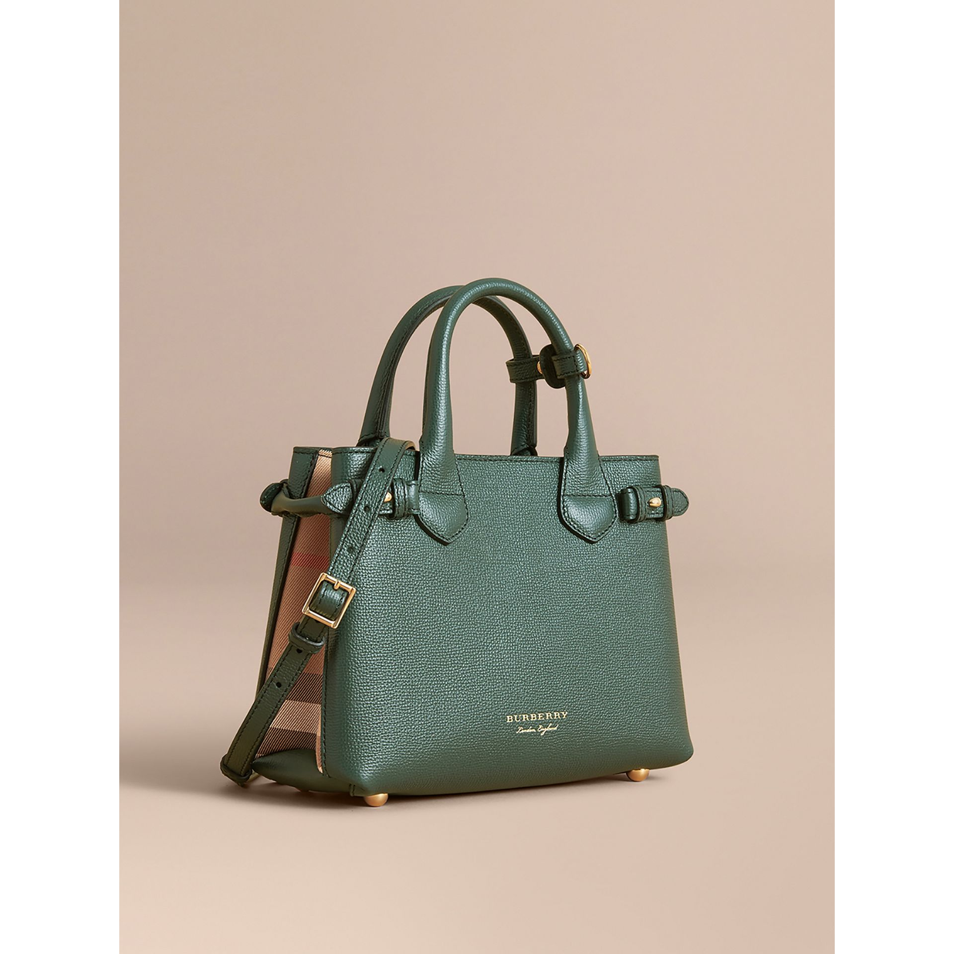 The Small Banner in Leather and House Check in Dark Bottle Green - Women | Burberry - gallery image 1