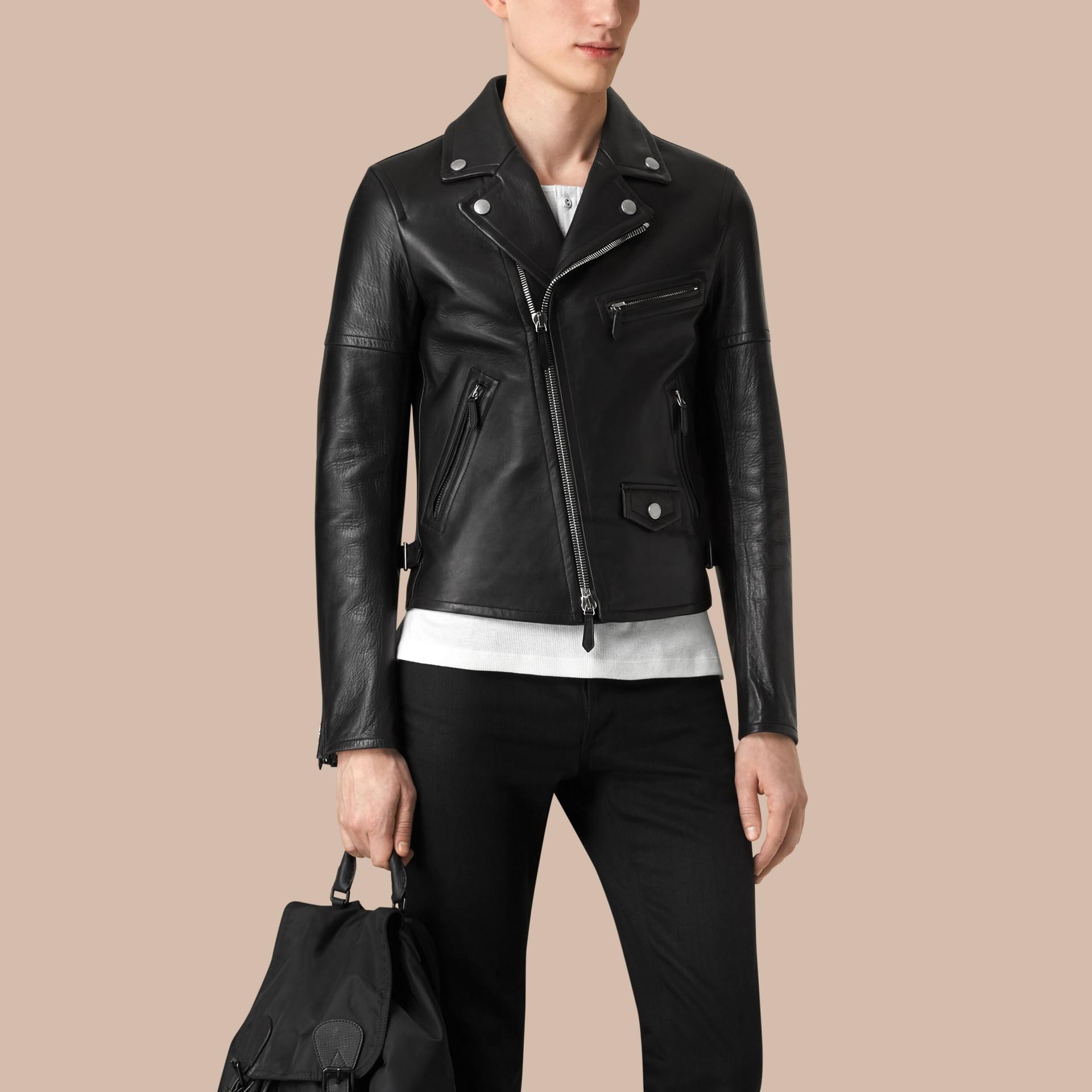 가죽 바이커 재킷 (블랙) - 남성 | Burberry - 갤러리 이미지 4