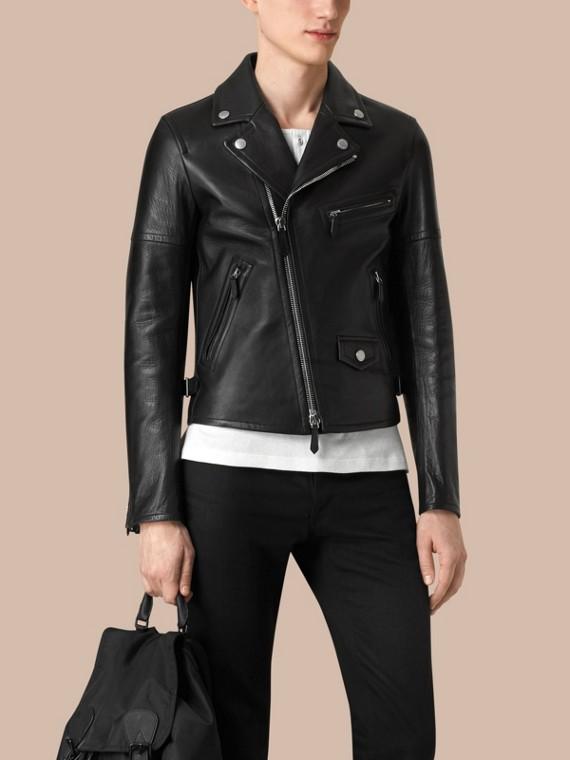 가죽 바이커 재킷 (블랙) - 남성 | Burberry - cell image 3