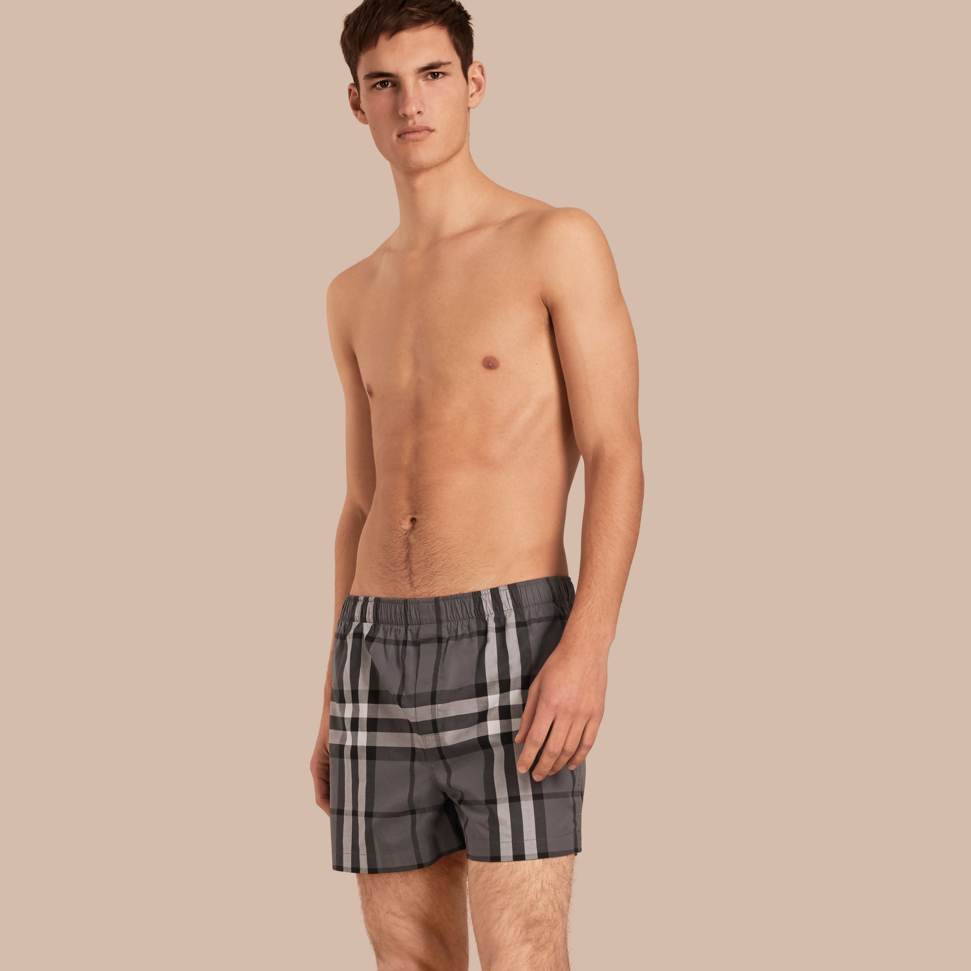 Check Twill Cotton Boxer Shorts in Charcoal - gallery image 1
