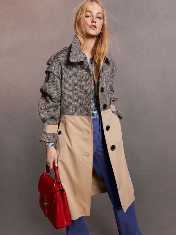 Trench coat in gabardine di cotone e tweed Donegal - Donna | Burberry