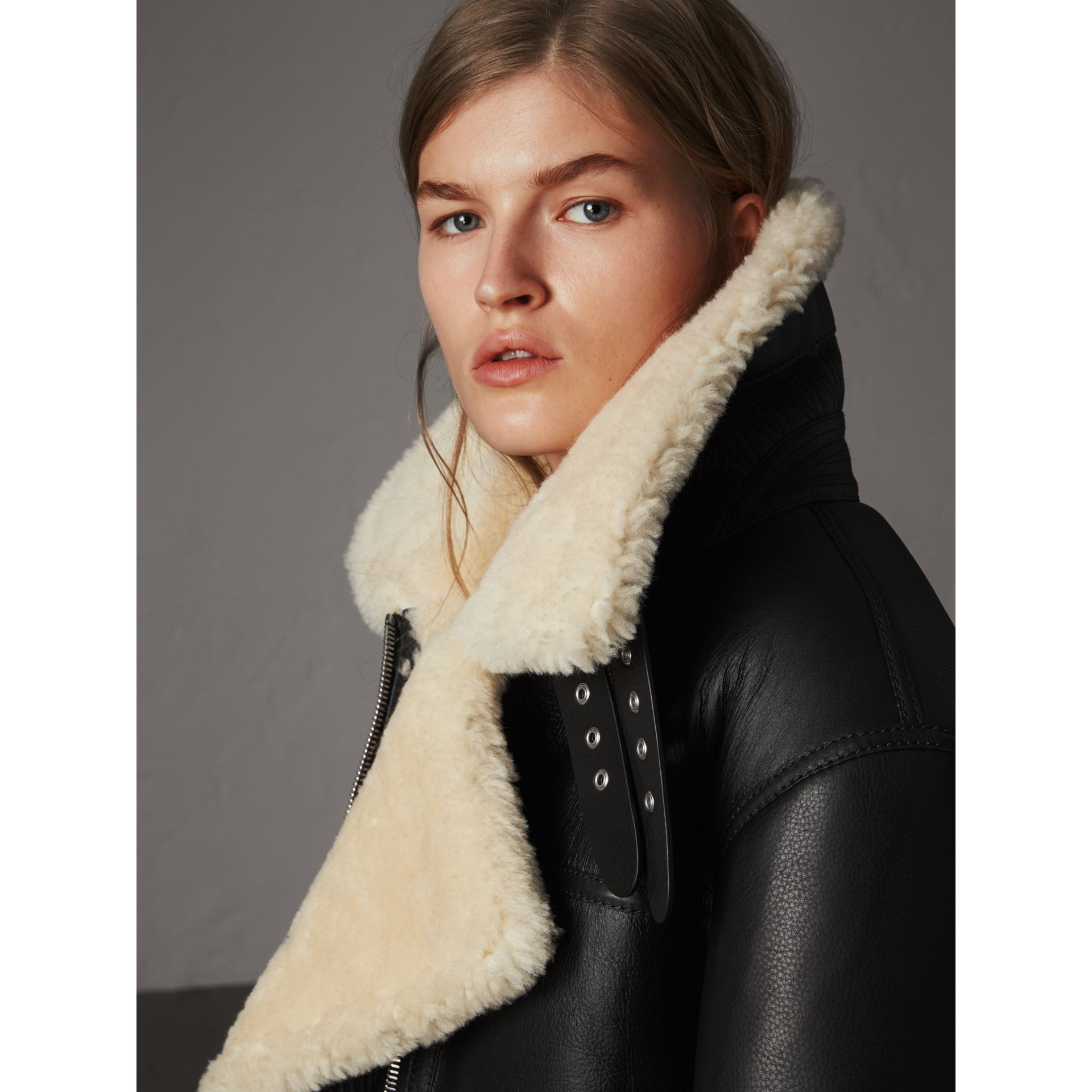 Shearling Aviator Jacket in Black - Women | Burberry - gallery image 2