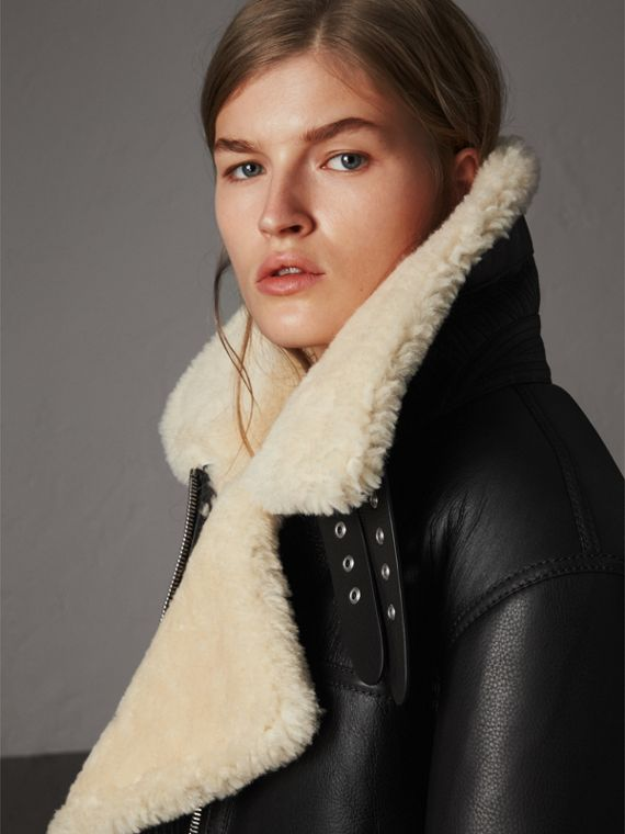 Shearling Aviator Jacket in Black