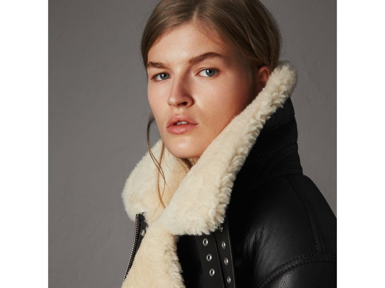 Shearling Aviator Jacket in Black - Women | Burberry - cell image 1