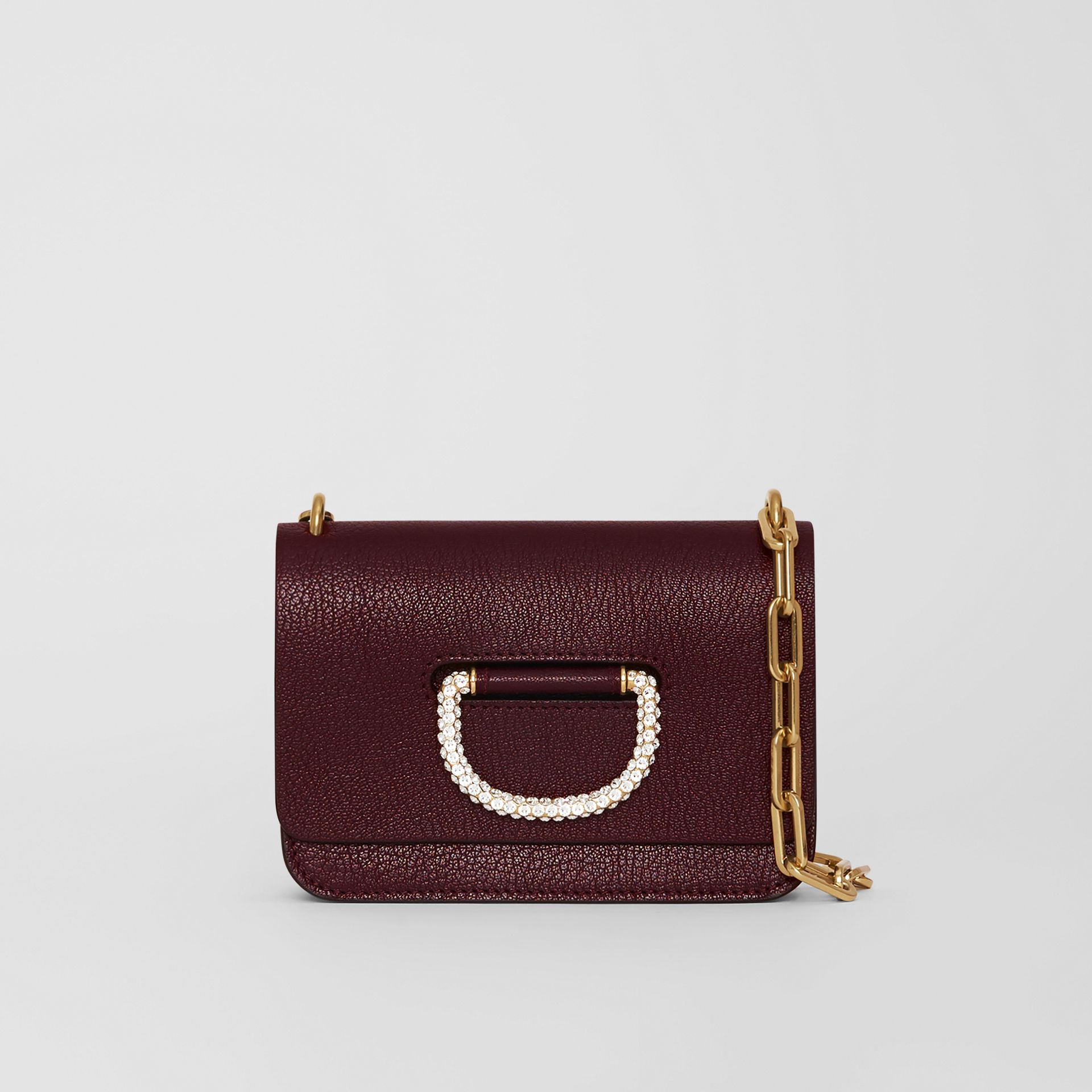 The Mini Leather Crystal D-ring Bag in Deep Claret - Women | Burberry Singapore - gallery image 0