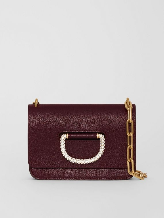 Borsa The D-ring mini in pelle con cristalli (Rosso Violetto Intenso)