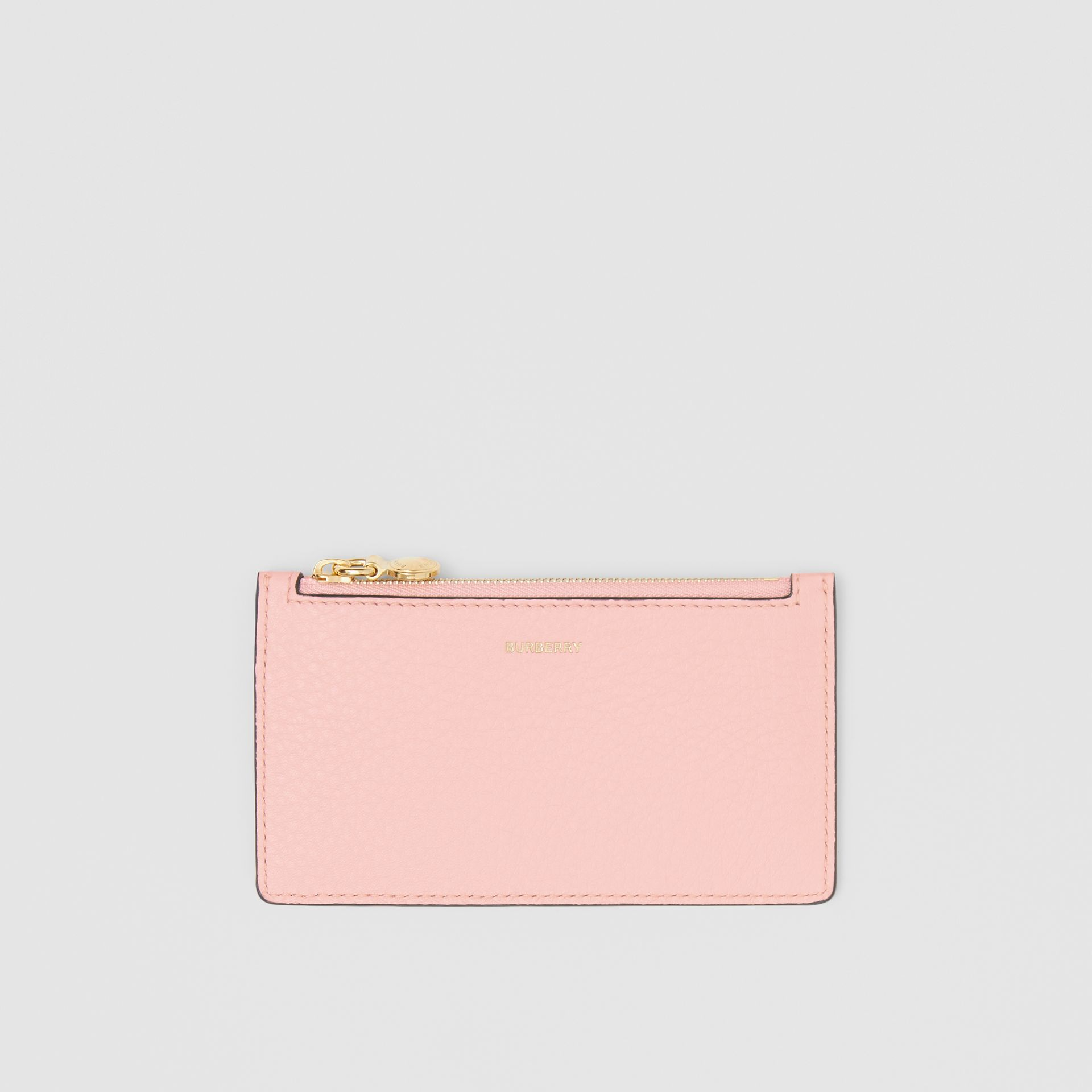 Leather Zip Card Case in Pale Ash Rose | Burberry - gallery image 0