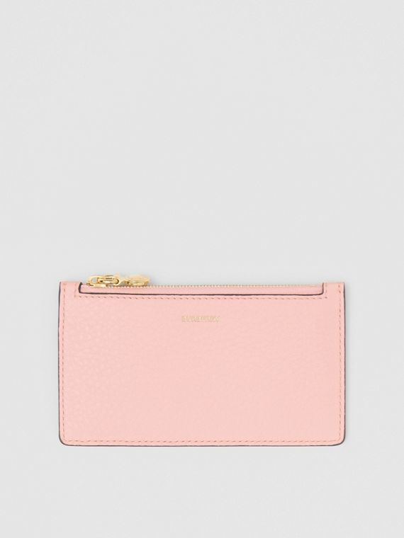 Leather Zip Card Case in Pale Ash Rose