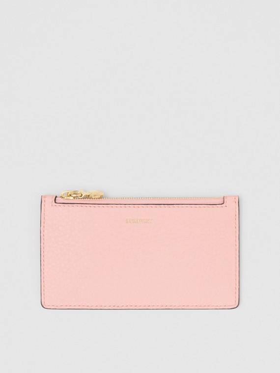 Porta-cartões de couro com zíper (Rosa Chá)