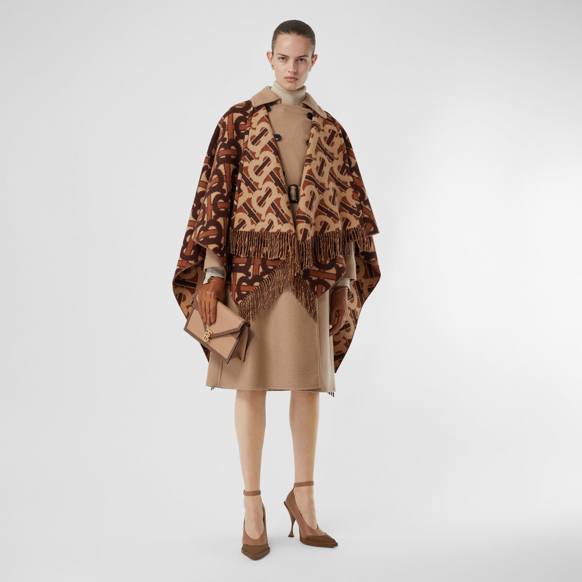 Monogram Merino Wool Cashmere Jacquard Cape in Dark Mocha - Women | Burberry United Kingdom - gallery image 0