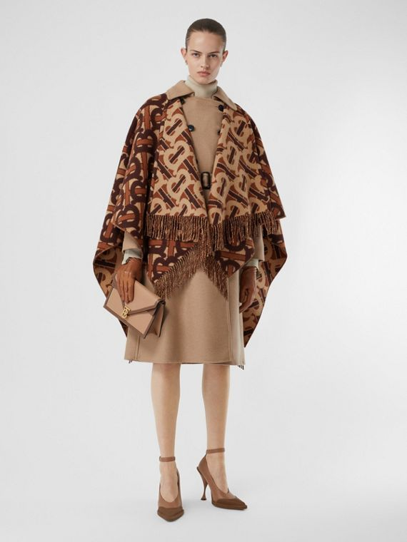 Monogram Merino Wool Cashmere Jacquard Cape in Dark Mocha