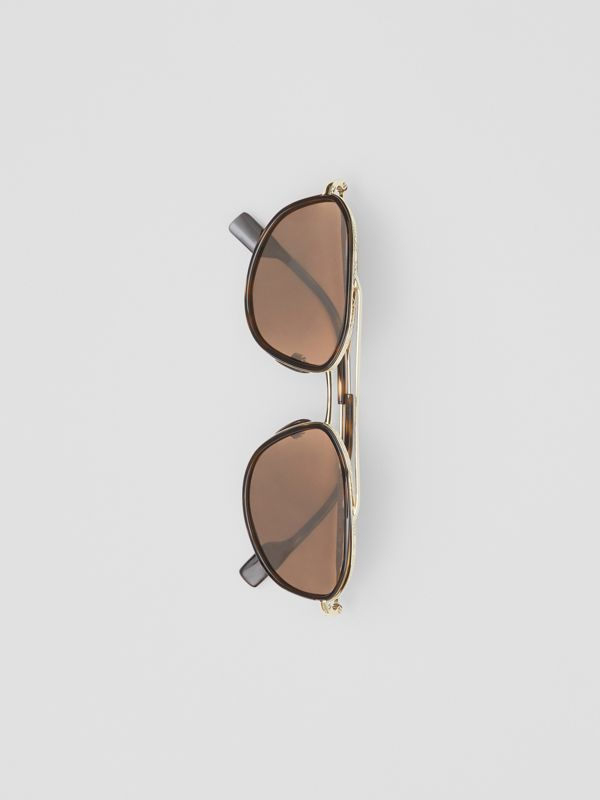 Gold-plated Geometric Navigator Sunglasses in Tortoise Shell - Men | Burberry - cell image 3