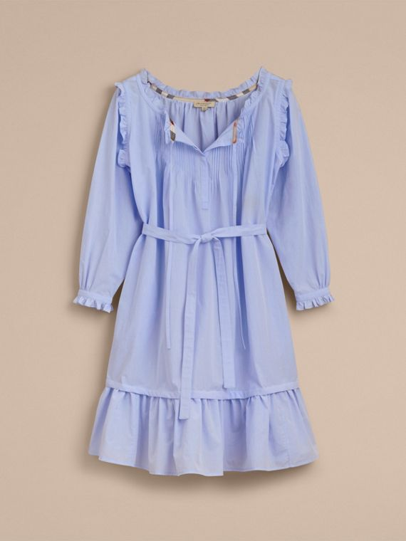 Ruffle and Pintuck Detail Cotton Dress in Pale Blue - Women | Burberry - cell image 3