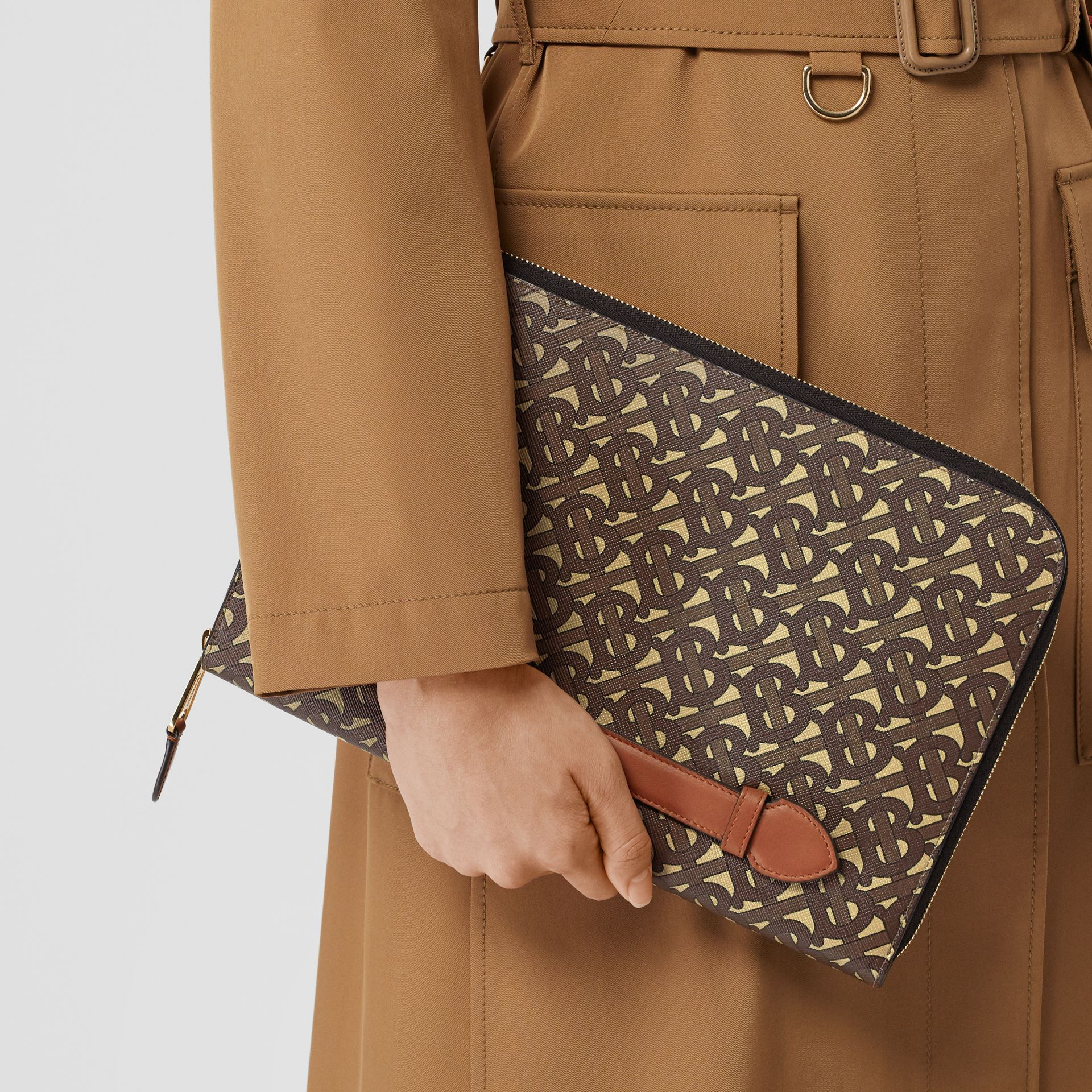 Monogram Print E-canvas and Leather Ziparound Pouch in Bridle Brown | Burberry Hong Kong S.A.R - gallery image 9