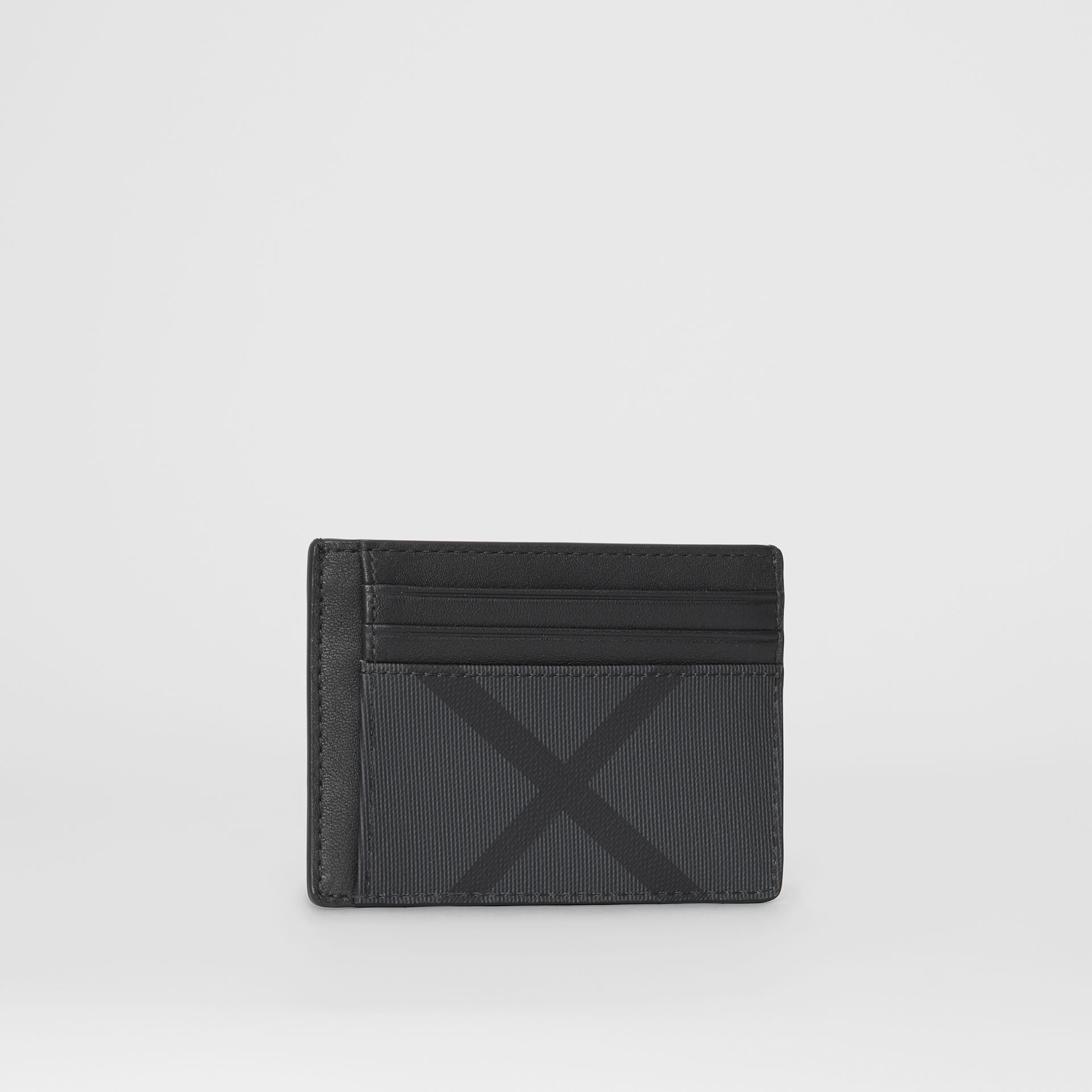 London Check and Leather Card Case in Charcoal/black - Men | Burberry - gallery image 3