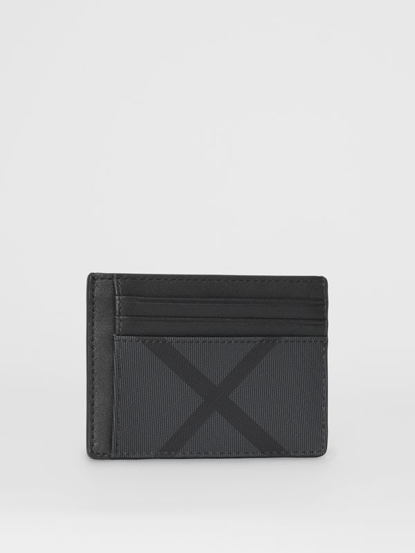 London Check and Leather Card Case in Charcoal/black - Men | Burberry Singapore - cell image 3
