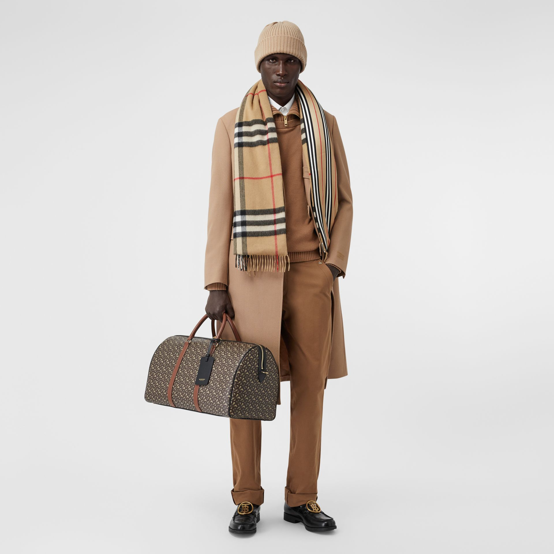 Check and Icon Stripe Cashmere Silk Puffer Scarf in Archive Beige | Burberry United Kingdom - gallery image 7