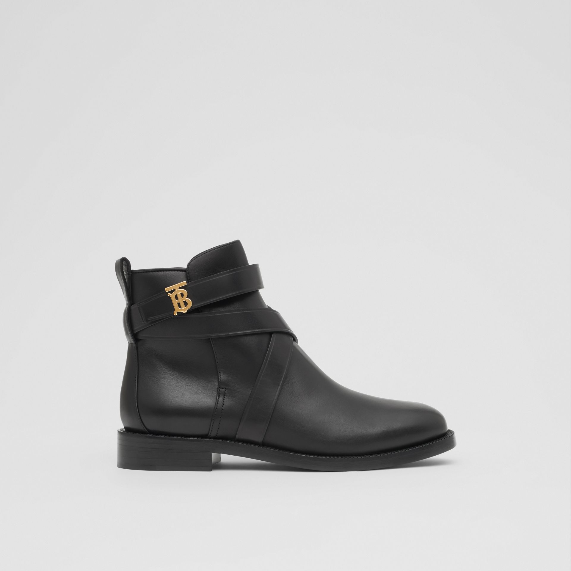 Monogram Motif Leather Ankle Boots in Black - Women | Burberry - gallery image 4