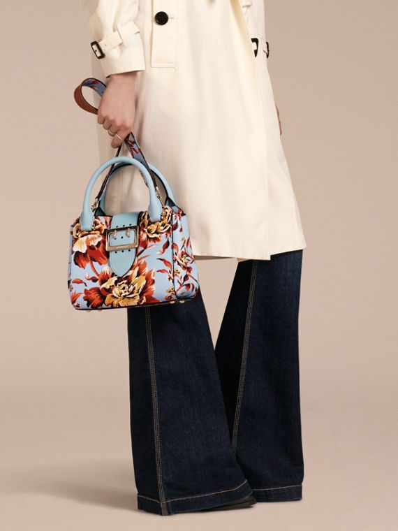 Pale blue/vibrant orange The Small Buckle Tote in Peony Rose Print Leather Pale Blue/vibrant Orange - cell image 3