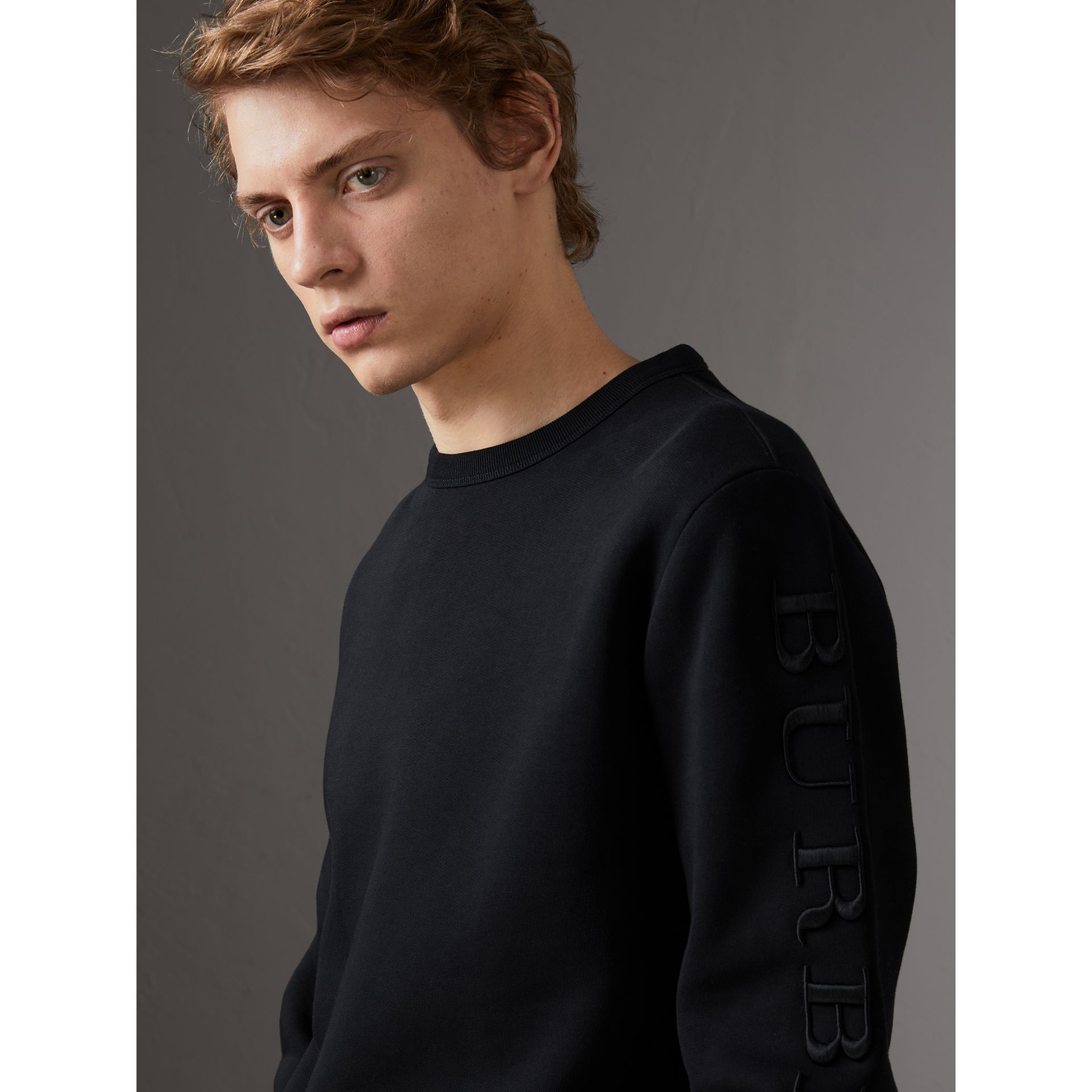 Cotton Jersey Sweatshirt in Black - Men | Burberry United Kingdom - gallery image 1