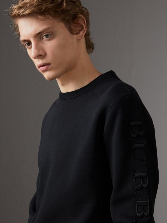 Cotton Jersey Sweatshirt in Black - Men | Burberry - cell image 1