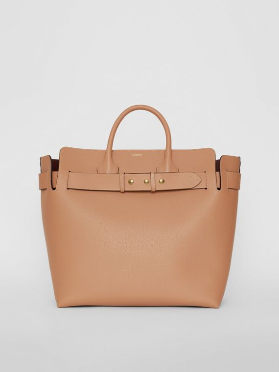 The Large Leather Triple Stud Belt Bag in Light Camel