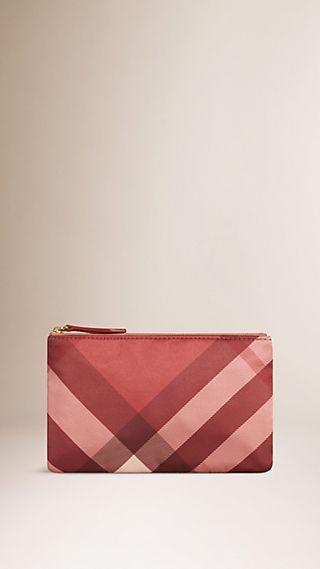 Small Check Silk Satin Beauty Wallet