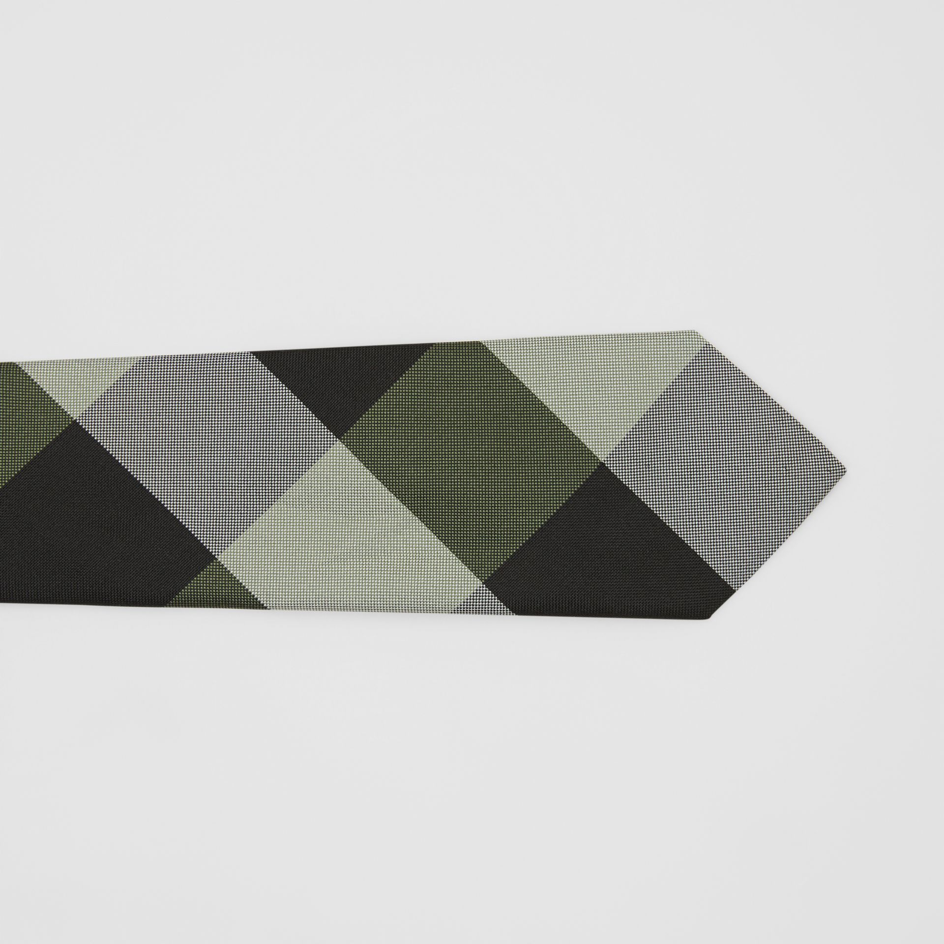 Modern Cut Oversized Check Silk Tie in Utility Green - Men | Burberry United States - gallery image 1