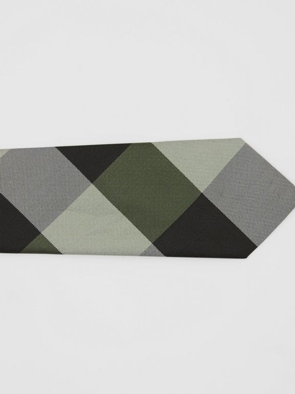 Modern Cut Oversized Check Silk Tie in Utility Green - Men | Burberry - cell image 1