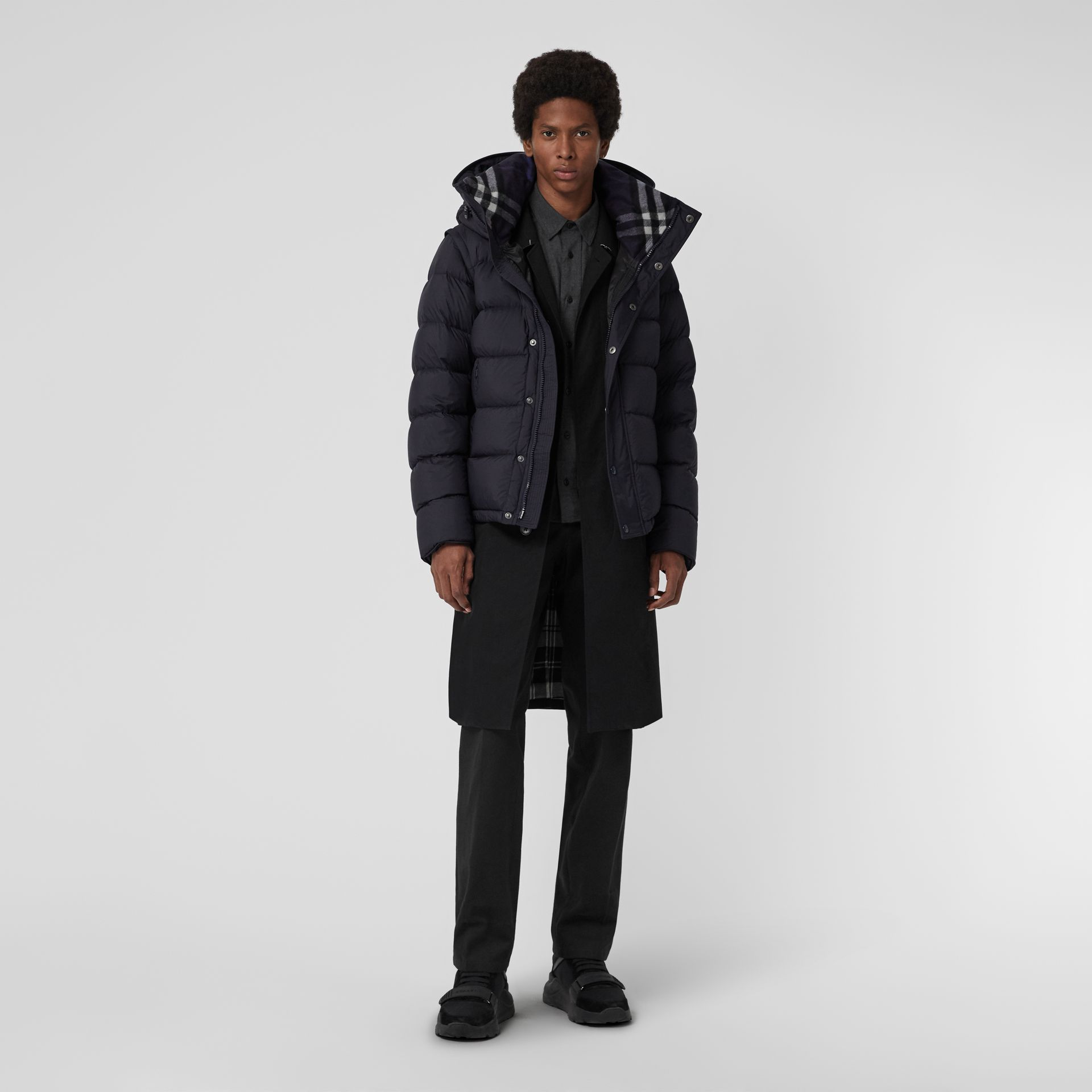Detachable-sleeve Down-filled Hooded Puffer Jacket in Navy - Men | Burberry Australia - gallery image 0