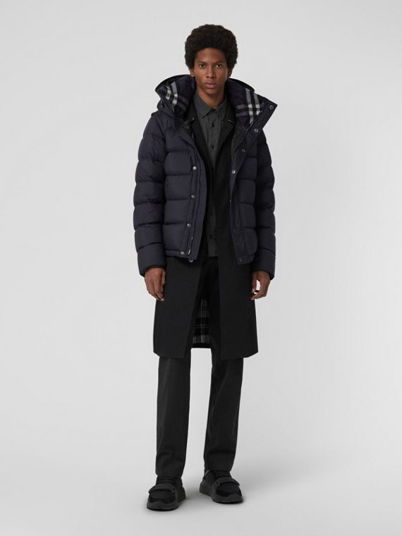 Detachable-sleeve Down-filled Hooded Puffer Jacket in Navy