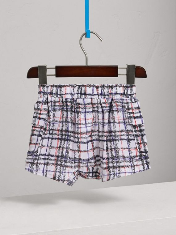 Scribble Check Silk Drawstring Shorts in Black/white - Girl | Burberry Australia - cell image 3