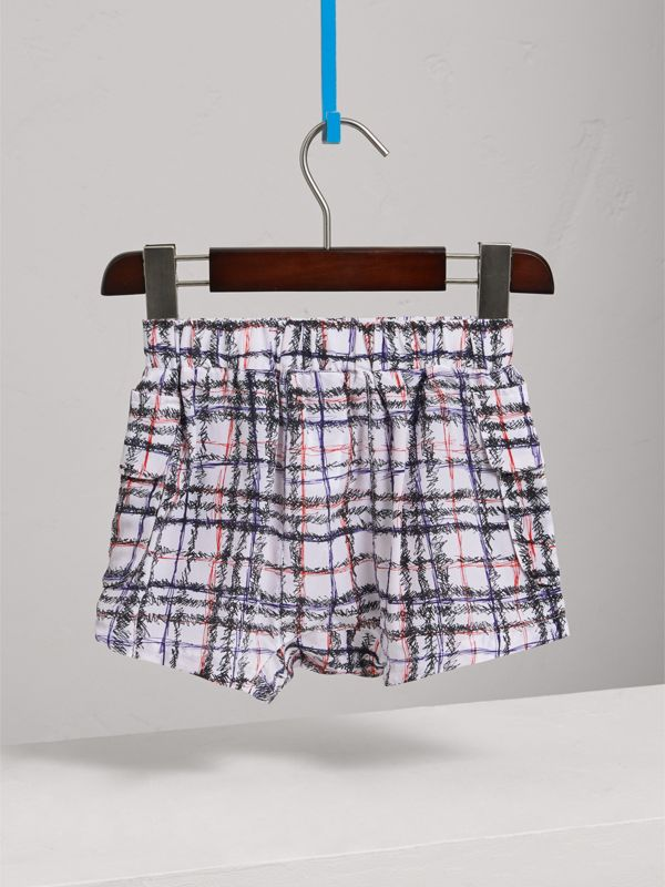 Scribble Check Silk Drawstring Shorts in Black/white - Girl | Burberry Hong Kong - cell image 3