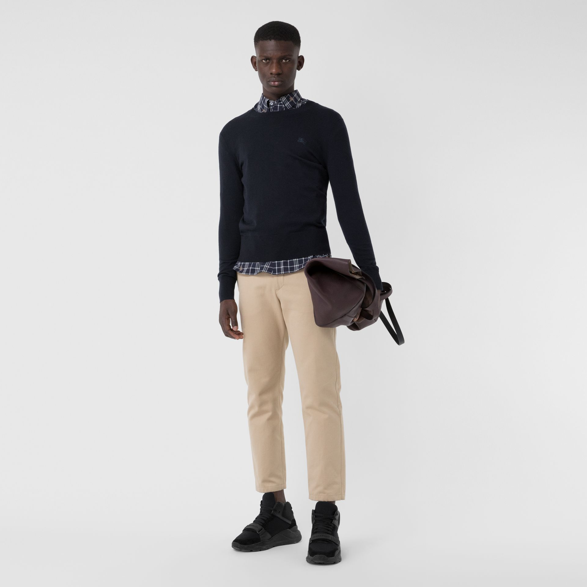 Crew Neck Cashmere Sweater in Navy - Men | Burberry United Kingdom - gallery image 0