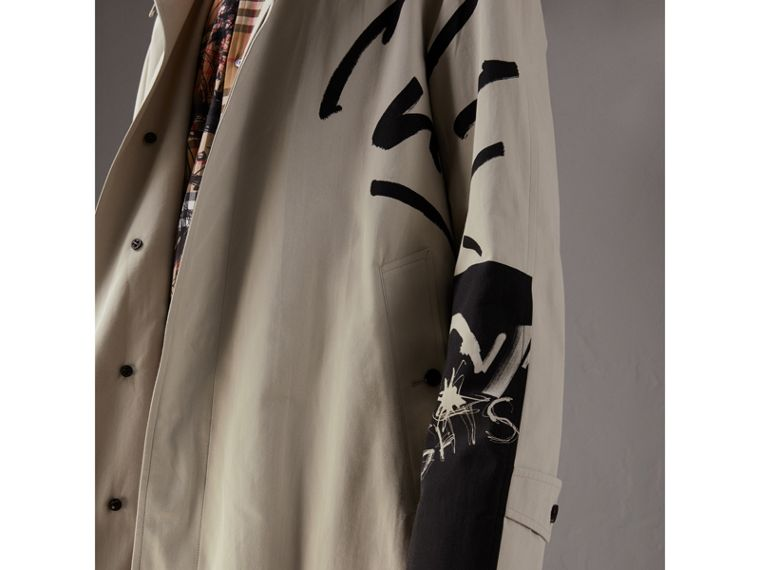 Burberry x Kris Wu Gabardine Car Coat in Stone - Men | Burberry Singapore - cell image 1