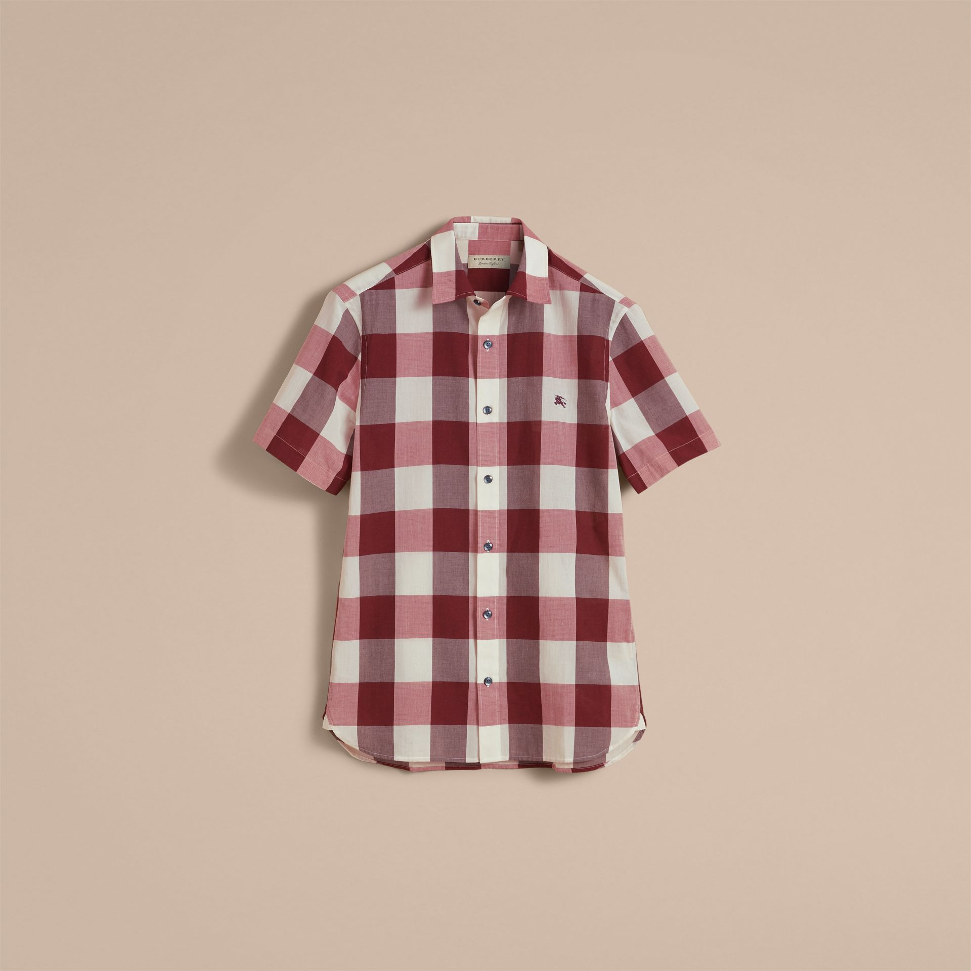 Short-sleeved Exploded Gingham Cotton Linen Shirt Plum Pink - gallery image 4