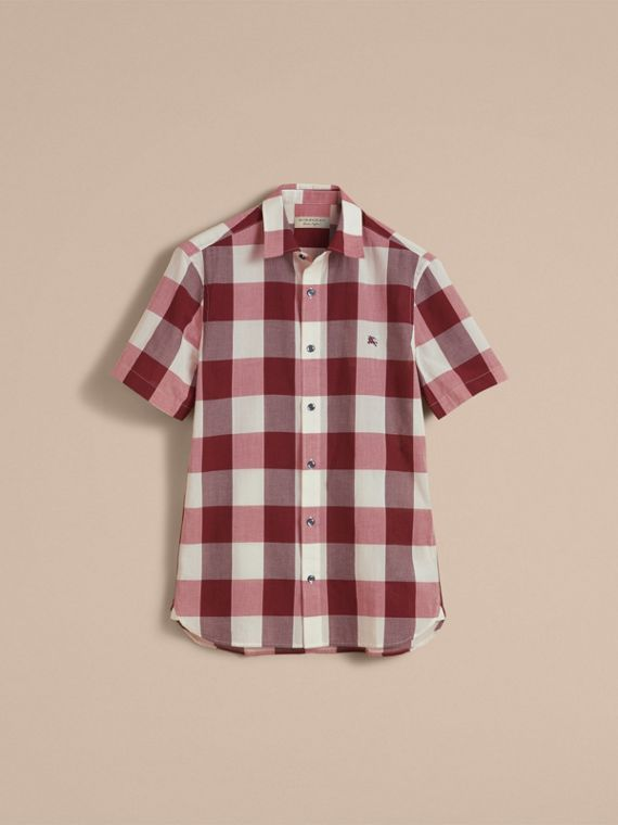 Short-sleeved Exploded Gingham Cotton Linen Shirt Plum Pink - cell image 3