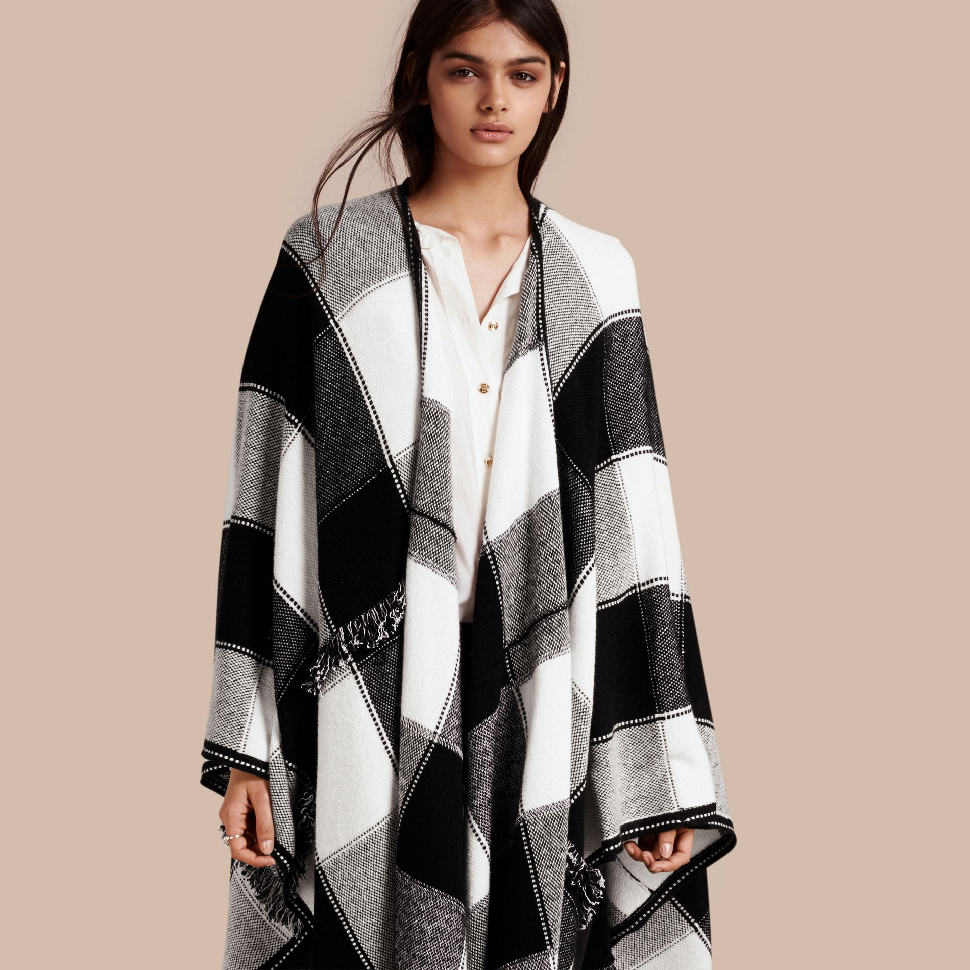 Black Check Wool Cashmere Cape with Fringing - gallery image 1