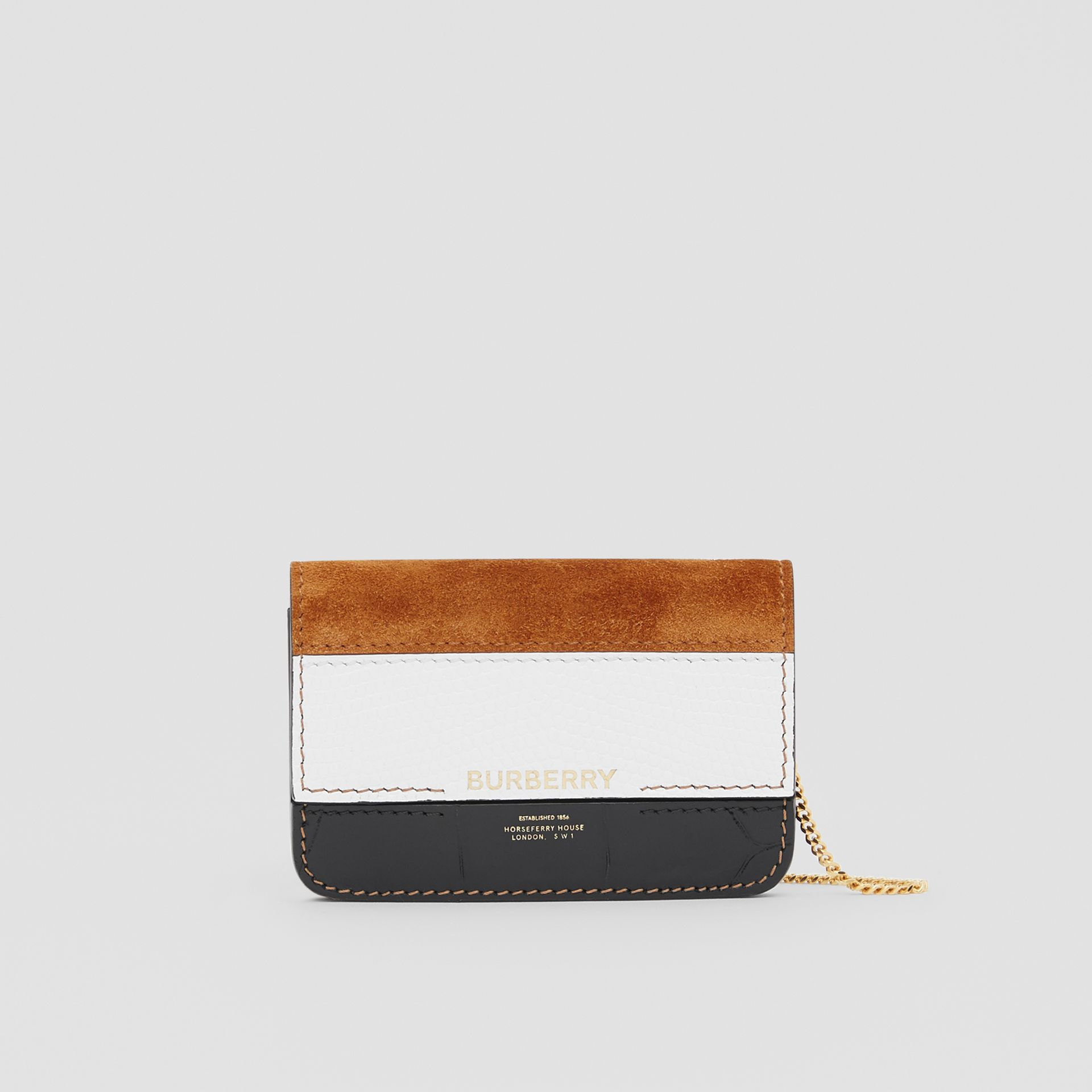 Suede and Leather Card Case with Detachable Strap in White/maple/black - Women | Burberry - gallery image 0