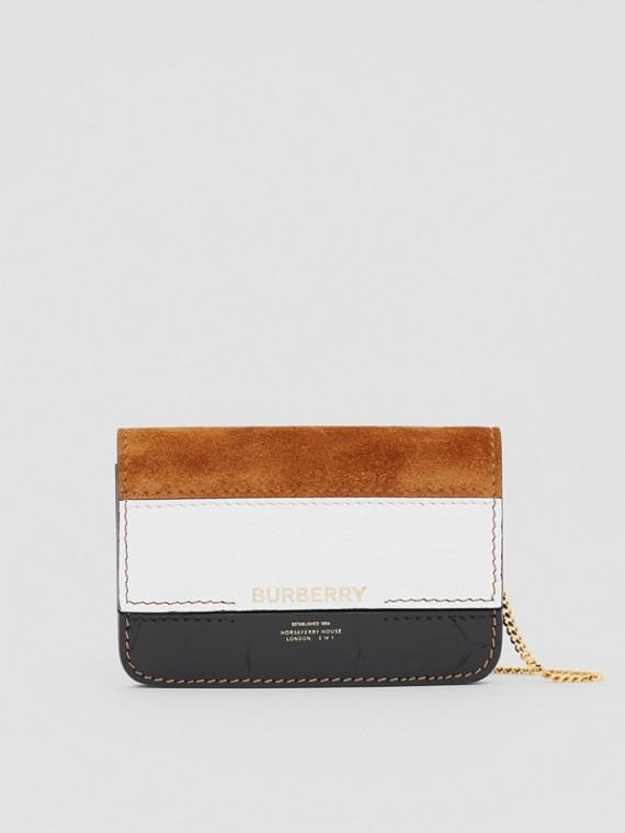 Porta carte di credito in pelle e pelle scamosciata con tracolla staccabile (Bianco/acero/nero)