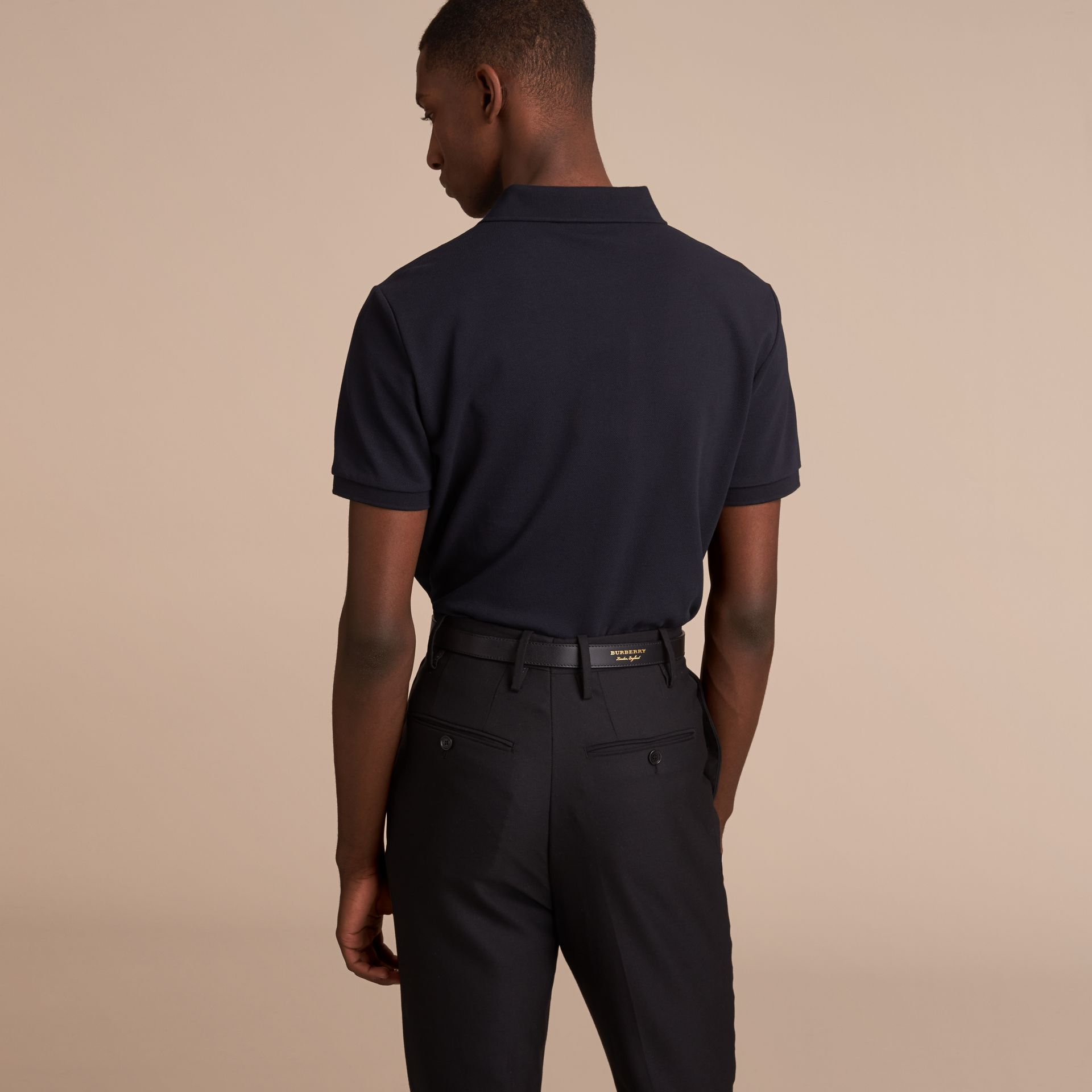 Pallas Heads Appliqué Cotton Polo Shirt in Dark Navy - gallery image 3