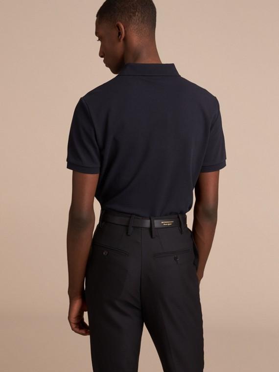 Pallas Heads Appliqué Cotton Polo Shirt in Dark Navy - cell image 2
