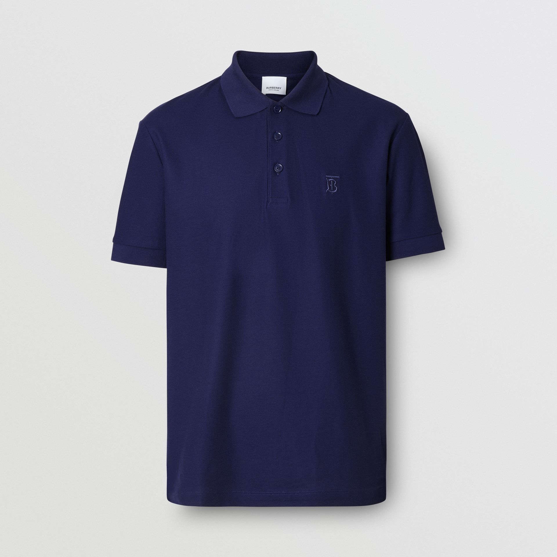 Monogram Motif Cotton Piqué Polo Shirt in Indigo - Men | Burberry - gallery image 3